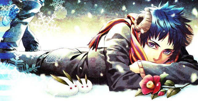 Обои Парень-демон лежит на снегу, художник Kazuki Yone