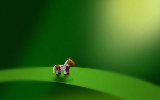 Обои Маленькая пятнистая лошадка стоит на зеленом листике