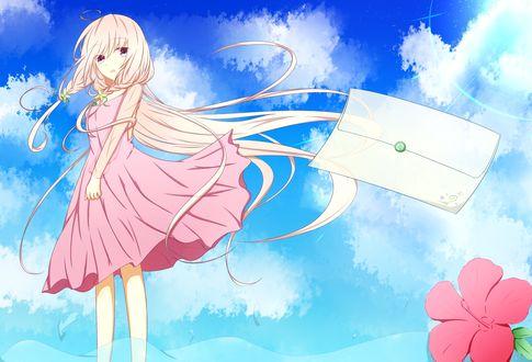 Обои Vocaloid IA / Вокалоид Ия в нежно-розовом платье стоит в воде и смотрит на летящий конверт, на фоне облачного неба