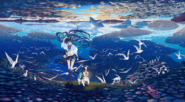 Обои Vocaloid Hatsune Miku / Вокалоид Хатсуне Мику идет по каменистому берегу водоема, рядом идет собака с фонарем в пасте