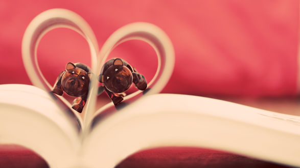 Обои Страницы книги, сложенные в форме сердечка, внутри которого два игрушечных медвежонка