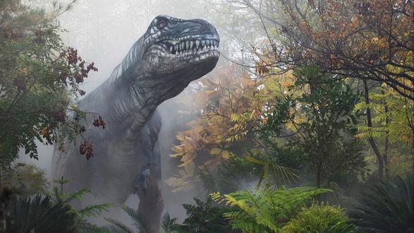 Обои Динозавр в осеннем лесу