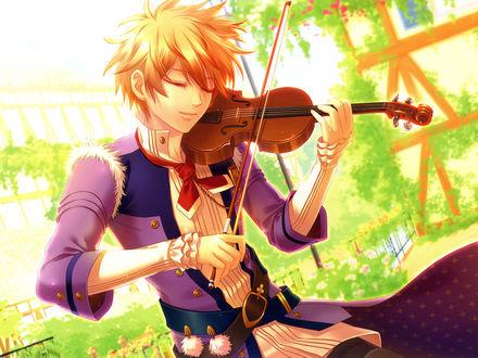 Обои Erik / Эрик из игры Moujuutsukai to Oujisama играет на скрипке