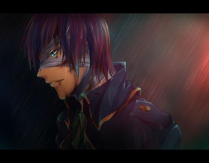 Обои Дате Масамуне / Date Masamune из игры и аниме Эпоха смут / Sengoku Basara в окровавленной повязке на лице под дождем, художник Uyre