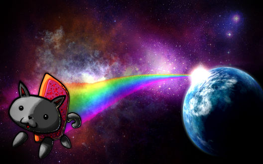 Обои Nyan Cat ((Нянкот- визуально-музыкальный мем Ютуба, на фоне космической туманности