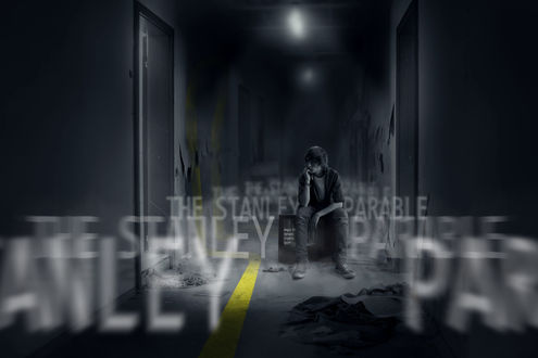 Обои Парень, сидящий на мониторе среди разрушенного офиса, эпизод из игры Притча о Стенли / The Stanley Parable (The Stanley Parable)
