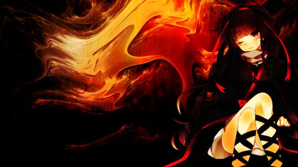 Обои Анимешная демонесса, подмигивая, сидит, закинув ногу на ногу, на темном фоне с абстрактными языками пламени
