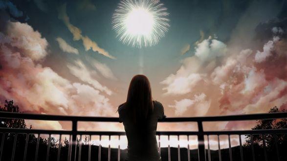 Обои Девушка стоит на мосту, смотря на фейерверк в небе