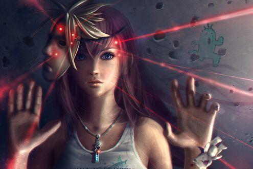 Обои Девушка с маской и молнии, работа Little Fangirl Lightning - Final Fantasy / маленькая молния Fangirl - заключительная фантазия, автор Eddy-Shinjuku