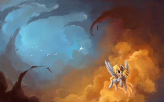 Обои Пегас Derpy / Дерпи, парящая в облаках, обернувшись, смотрит на стайку белых голубей, улетающих в голубую даль, art / арт по мотивам мультсериала Мой маленький пони: Дружба - это чудо / My Little Pony: Friendship is Magic / MLP:FiM