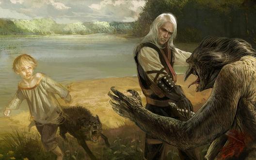 Обои Ведьмак сражается с монстром, рядом с ним мальчик и бешеный пес