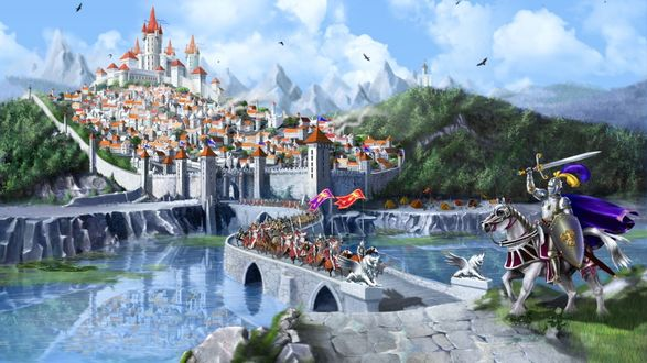 Обои Рыцари выезжают из ворот замка