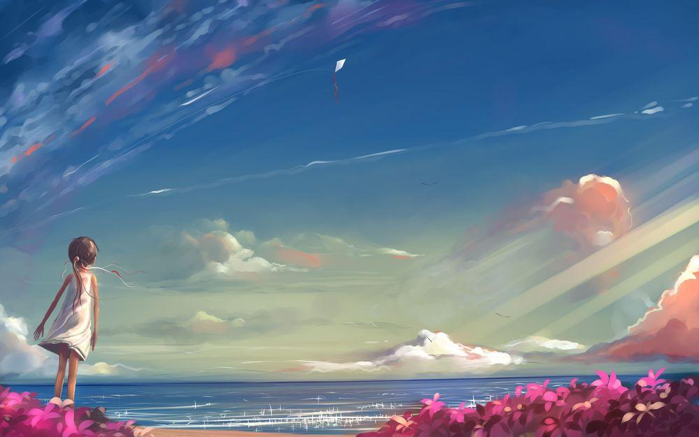 Обои для рабочего стола Девочка стоит на берегу моря, ветер ласкает ее платьице и гонит вперед запущенный кем-то воздушный змей, в небе парят чайки, вокруг поля цветов