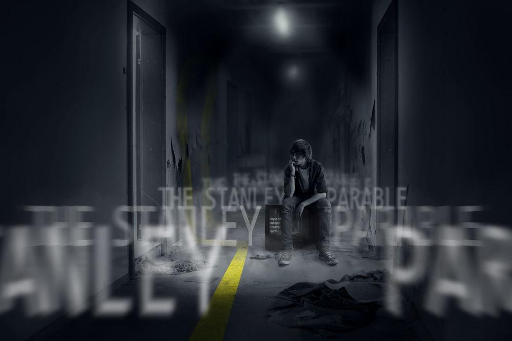 Обои для рабочего стола Парень, сидящий на мониторе среди разрушенного офиса, эпизод из игры Притча о Стенли / The Stanley Parable (The Stanley Parable)