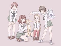���� Akebi Sasaki / ����� ������, Noriko Isobe / ������ �����, Shinobu Kawanishi / ������ �������� � Taeko Kondou �� ����� Girls und Panzer / ������� � ����� ������ � ������  �����, �������, �����