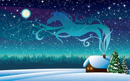 Обои Домик в лунную зимнюю ночь на фоне леса
