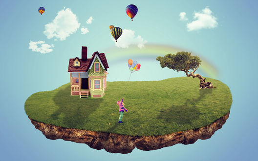 Обои Коллаж, состоящий из небольшого участка земли, покрытого зеленым дерном с растущим деревом, красивым домиком с мансардой, девочкой, держащей в руке надувные шарики на фоне парящих в небе воздушных шаров, белых облаков и радуги
