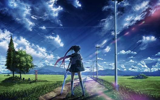 Обои Девушка в школьной форме с зонтиком в руке и сумкой на плече стоит посреди проселочной дороги, художник Bokuden