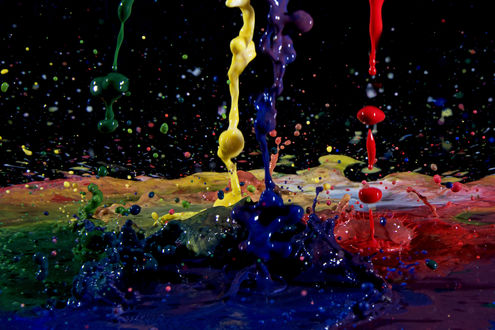 Обои Брызги от разноцветной краски
