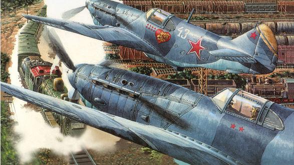 Обои Два советских истребителя пикируют поезд стоящий на станции