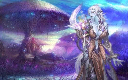 Обои Эльфийка на фоне дерева, растущего в форме гриба, из игры Айон / Aion