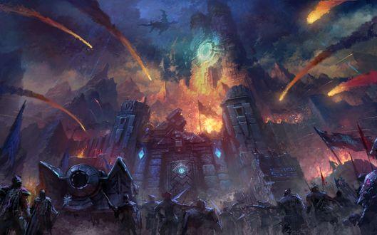 Обои Армия, атакующая замок из игры Айон / Aion