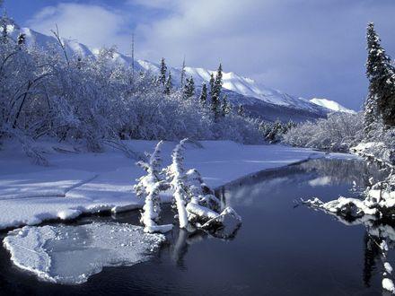 Обои Не полностью замерзшая река с заснеженными горами и деревьями покрытые инеем