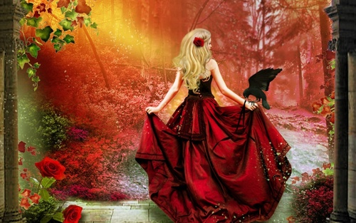 Белокурая девушка с красной розой в