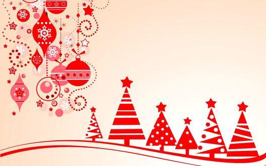 Обои Рисованные абстрактные елки и различные новогодние украшения в красном цвете на бежевом фоне