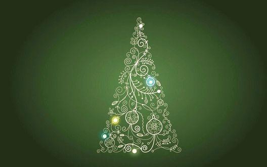 Обои Рисованная абстрактная елка из белых завитков, украшенная шарами на зеленом фоне