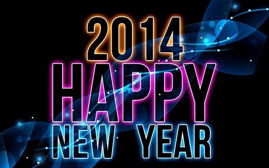 Обои Рисованная и подсвеченная эффектом неонового свечения надпись:2014 Happy New Year / Счастливого Нового года 2014, на черном фоне с абстрактными фракталами