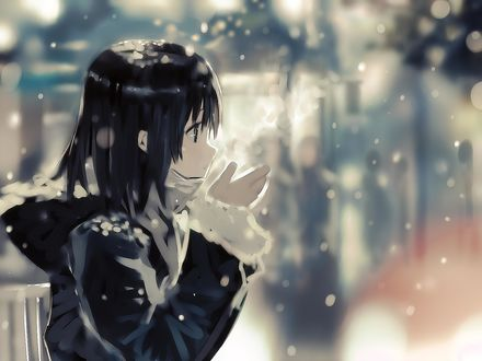 Обои Девочка держит перед собой руки и от дыхания идет пар на морозе