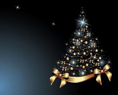Обои Новогодняя елка с украшениями