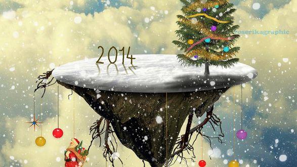 Обои Островок с новогодней елкой, с которого свисают новогодние игрушки, 2014