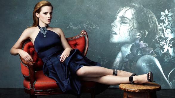 Обои Актриса Эмма Уотсон / Emma Watson сидит в красном кресле
