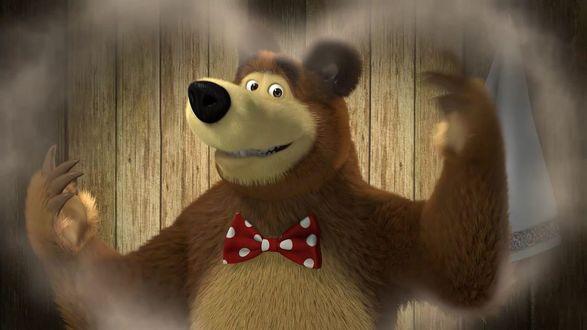 Обои Медведь сквозь сердечко из дыма кадр из мультика Маша и Медведь - Сладкая жизнь