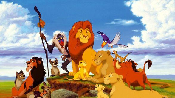 Обои Симба, Тимон, лев, Пумба, Нала, обезьяна и гиены сидят на камне кадр из мультика Король Лев / The Lion King