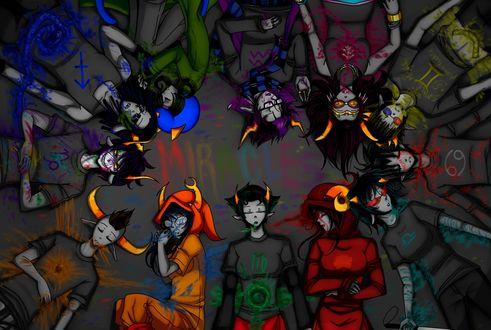 Обои Gamzee Makara / Гамзи Макара таки осуществил свою мечту убить всех остальных троллей и порисовать их кровью, фан-арт по мотивам веб-комикса Хоумстак / Homestuck fan-art (MIRACLES / ЧУДЕСА)