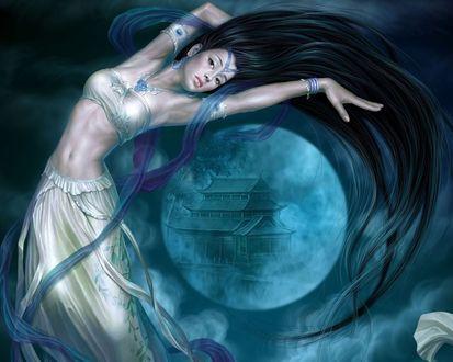 Обои Фантастическая красавица парит на фоне полной луны, с изображением на ней китайского домика, художник Tang Yuehui
