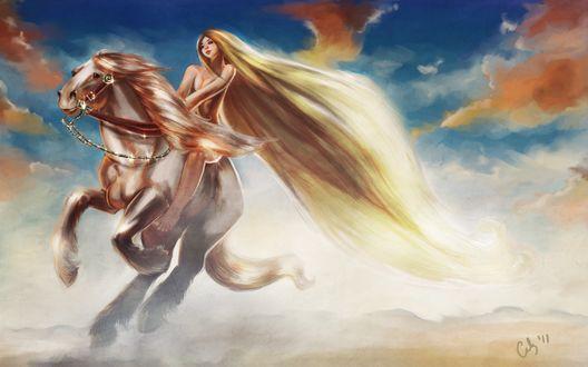 Обои Девушка верхом на лошади скачет на фоне едва виднеющихся гор