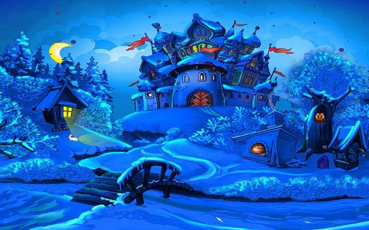 Обои Сказочный замок со множеством башен с красными флажками, стоящий на заснеженном пригорке, рядом с ним стоит избушка на курьих ножках, возле которой скачет белый зайчик, рядом стоит печка с открытой заслонкой и горящими в ней дровами, дерево с дуплом, в котором сидит сова, колодец и бадья, деревянный мостик через застывший ручей