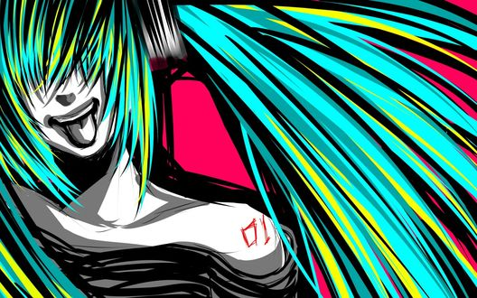 Обои Vocaloid Hatsune Miku / Вокалоид Хатсуне Мику показывает язык