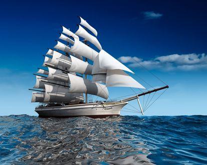 Обои Парусный корабль в открытом море