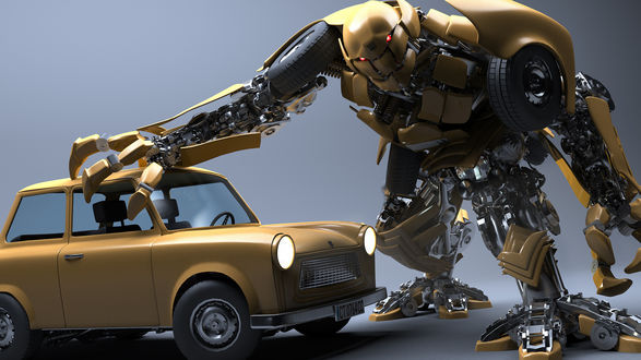 Обои Робот схватил машину