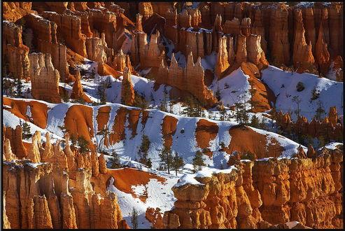 Обои Красивое горное образование с растущими между пиками гор деревьями и слегка припорошенного снегом