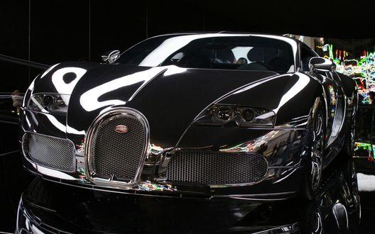 Обои Bugatti Veyron 16. 4 Grand Sport / Бугатти Вейрон 16. 4 Гранд Спорт черного цвета