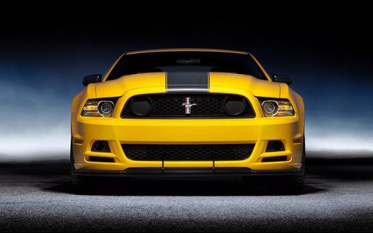 Обои Ford Mustang Boss 302 / форд Мустанг Босс 302 желтого цвета на дороге