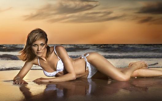 Обои Девушка в купальнике лежит на песчаном берегу моря