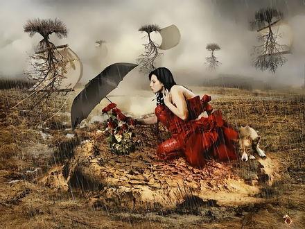 Обои Черноволосая женщина в красном платье, сидящая на пригорке высохшей, потрескавшейся земли прикрывает черным зонтиком от идущего дождя букет красных роз, оставшийся в единственном экземпляре на земле, деревья вместе с корнями поднимаются и улетают в пасмурное, дождевое небо, рядом с женщиной лежит собака