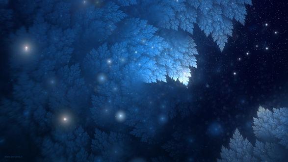 Обои Фрактальные листья, сквозь которые видно звездное небо